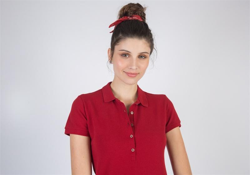Camisa polo feminina vermelha
